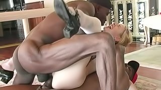 Cute Coed Fucked Hardcore by Three Big Black Cocks at Once