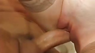 French Redhead Milf fucks 2 men in Toilet