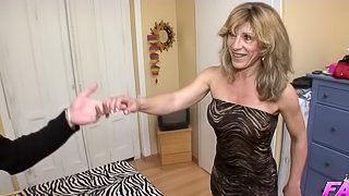 Beatriz is a hot MILF who is curious about a massive boner