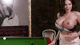 Enjoy a game of pool with Clanddi Jinkcego--if you can concentrate on anything other than her VERY distracting body! Come see!