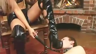 Blonde Russian mistress having fun with her servant by the fireplace