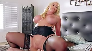 Alura Jenson is a horny as hell mom with massive jugs who cant miss her chance to takes fat dick of her just married daughters hubby in her dripping wet pink pussy. She rides his rod just like crazy!