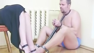 Hot Russian mistress has her hung man lick her sexy feet