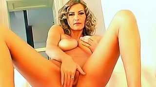 Naked euroean breathtaker Vanessa B with huge sexy titties spreads her lovely long legs and rubs her trimmed pussy. Watch stunning Vanessa B touch her juicy titties and wet snatch