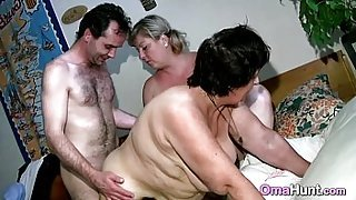 Threesome with a granny slut