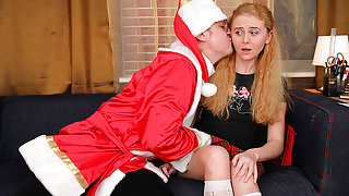 TrickyOldTeacher - Sexy students sucks and fucks older teacher dressed as older Santa