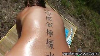 Perky tits amateur girl caught sunbathing