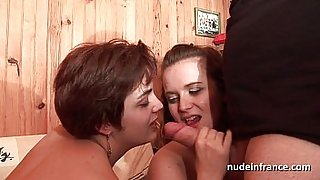 FFM horny french milfs sucking cock before some lesbians actions