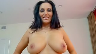 French brunette Ava Adams is a sexy bodied MILF with big breasts and smooth pussy. She strips out of her yellow mini dress and purple thong panties in the bedroom. Ava Adams displays every inch of her hot body