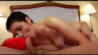 Cock hungry brunette French MILF slut with a young guy