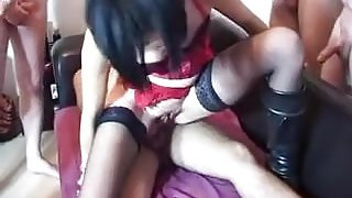 French milf in stockings gangbang bukkake