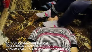 Femdome boud home slave lick kiss feet facesitting BDSM