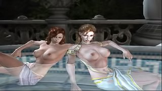 God of War 2 - Bathouse Girls Sex Scene